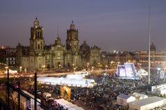 Zocalo och domkyrka av Mexico - stad Arkivbilder