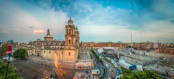 Zocalo square and Metropolitan cathedral of Mexico city stock images