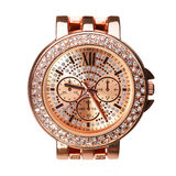 Złociści Wristwatches z diamentami odizolowywającymi Zdjęcie Royalty Free