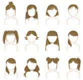 Złocisty fryzury ikony kolekci set Zdjęcie Royalty Free