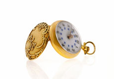 złocisty kieszeniowy zegarek Obrazy Royalty Free