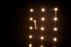 Złocisty mikrofon na mikrofonu stojaku Zdjęcie Stock