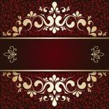 Złocisty ornament na Burgundy tła karcie Zdjęcie Stock