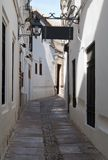 Zoco street. Street decorated with white houses and sign gets souk. It is Situated in a village in Spain Called Cordoba Stock Photography