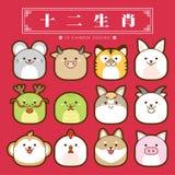 zodíaco de 12 chineses, tradução chinesa ajustada do ícone: 12 sinais chineses do zodíaco: rato, boi, tigre, coelho, dragão, serp Fotografia de Stock