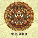 Zodíaco do Maya, cartão com ornamento étnico ilustração stock