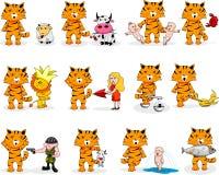 Zodíaco do tigre dos desenhos animados Fotografia de Stock