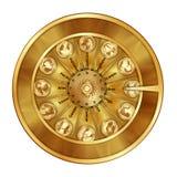 Zodíaco dourado do sinal da fortuna da roda Fotos de Stock Royalty Free
