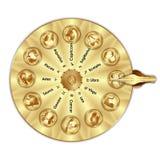 Zodíaco dourado do sinal da fortuna da roda Imagens de Stock Royalty Free