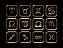 Zodíaco dourado rendição 3d Imagens de Stock