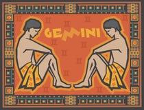 Zodíaco estilizado e decorativo ilustração stock