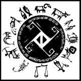 Zodíaco primitivo ocidental #3 ilustração do vetor