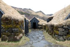 Zodehuizen in Skogar IJsland Royalty-vrije Stock Foto's