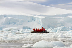 Zodiac cruisers in Antarctica Royalty Free Stock Photography