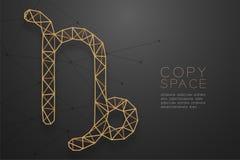 Zodiac Αιγοκέρου χρυσή δομή πλαισίων πολυγώνων σημαδιών wireframe, απεικόνιση σχεδίου έννοιας αφηγητών τύχης διανυσματική απεικόνιση