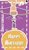 Zodiac γενεθλίων ευχετήρια κάρτα, Sagittarius, διάνυσμα Στοκ εικόνα με δικαίωμα ελεύθερης χρήσης