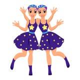 Zodiac Διδυμων σύμβολο ως όμορφα κορίτσια Απεικόνιση αποθεμάτων