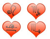 zodiac εικονιδίων καρδιών Στοκ εικόνα με δικαίωμα ελεύθερης χρήσης