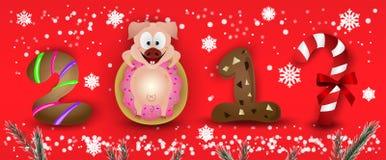 Zodiac καλής χρονιάς 2019 χαρακτήρες σημαδιών χοίρων με snowflakes & το έλατο ελεύθερη απεικόνιση δικαιώματος