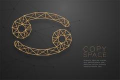 Zodiac καρκίνου χρυσή δομή πλαισίων πολυγώνων σημαδιών wireframe, απεικόνιση σχεδίου έννοιας αφηγητών τύχης διανυσματική απεικόνιση