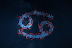 Zodiac καρκίνου ύφος χίπηδων σημαδιών στοκ εικόνες