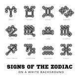 Zodiac σημάδια Λεπτά διανυσματικά εικονίδια γραμμών Στοκ Εικόνες