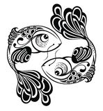Zodiac σημάδια - Pisces. Σχέδιο δερματοστιξιών Στοκ φωτογραφία με δικαίωμα ελεύθερης χρήσης