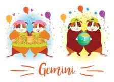 zodiac σημαδιών 6587 guinea pig shoulder Διδυμοι διανυσματική απεικόνιση