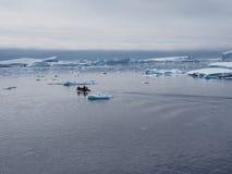 Zodiac στο τοπίο παγόβουνων της Ανταρκτικής Στοκ Εικόνες