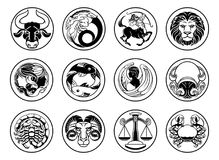 Zodiac σύμβολα σημαδιών αστεριών ωροσκοπίων αστρολογίας καθορισμένα Στοκ εικόνες με δικαίωμα ελεύθερης χρήσης