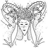 Zodiac το γραπτό κορίτσι σχεδίων Aries σημαδιών παρουσιάζει κέρατα με τα χέρια και τα δάχτυλά της απεικόνιση αποθεμάτων