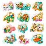Zodiac ωροσκόπιο για τις αγορές και τις πωλήσεις καθορισμένα παιχνίδια εικόνων s παιδιών Διανυσματική απεικόνιση