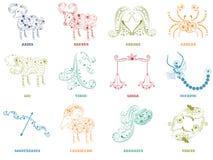 Zodiac δώδεκα ή ωροσκοπίων έννοια σημαδιών διανυσματική απεικόνιση
