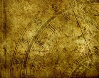Zodiac. Background with antique clock on ceramic tile Stock Image