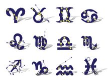 Zodiac. Symbols decorated  constellations. Isolated on white background Royalty Free Stock Photos