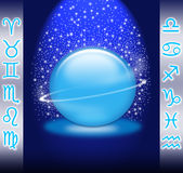 The zodiac. Magic crystal ball with the 12 symbols of the zodiac Stock Photo