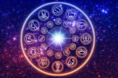 Zodiac. Astrological wheel with symbols and signs of zodiac over starry Universe vector illustration