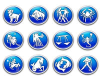 The zodiac. Dimensional buttons or icons with the signs of the zodiac royalty free illustration