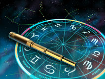 Zodiac. Wheel of the zodiac and telescope over a sky background. Digital illustration stock illustration