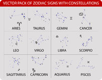Zodiac. Vector pack of zodiac signs with constellations Royalty Free Stock Photography