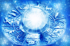 Zodiac. With astrological symbols and crystal ball with light Royalty Free Stock Image