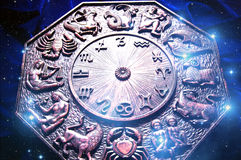 Zodiac. With astrological signs over starry background Royalty Free Stock Images