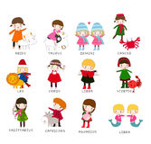 Zodiac. Illustration of  group of cute zodiac Stock Photo