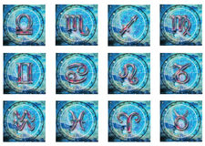 Zodiac. Illustration set of all the zodiacal signs in blue colors royalty free illustration