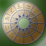 Zodiac 3. Illustration of a metal circle containing 12 embossed zodiac signs Royalty Free Stock Photos
