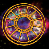 Zodiac. Wheel of zodiac over a blurred space background stock illustration