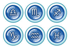 Zodiac. Of Libra, Scorpio, Sagittarius, Capricorn, Aquarius and Pisces royalty free illustration