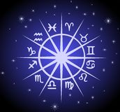 Zodiac signs on starry background. Illustration representing the symbols of the 12 zodiac signs Royalty Free Illustration