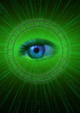 Zodiac. Blue eye in center of a zodiac wheel over a green background with rays of light stock illustration