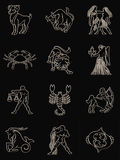 Zodiac. Signs on a black background Stock Photo